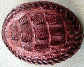 Brown Exotic Skin Belt Buckle with Calf Skin Double Stitch Lacing OOAK
