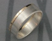 Modern Two Tone Wedding Band--Solid 14K Yellow Gold and Sterling Silver--Brushed and Polished--Men's Wedding Ring--Custom Made to Size