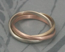 Solid 14K Tri Color Rolling Ring--Rose, White and Yellow Gold Interlocking Ring--Three 2mm wide Half Round Bands--Custom Made to Size