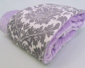 Minky Baby Blanket in Gray Damask and lavender, for baby girl - MinkyBabyGifts