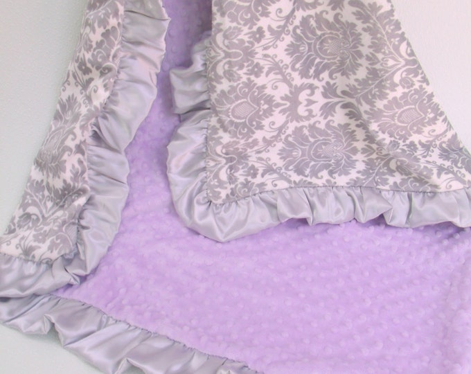 Lavender and Gray Damask Minky Baby Blanket
