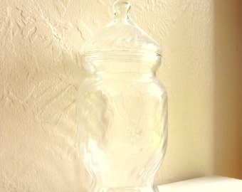 Tall Vintage Clear Glass Swirly Jar with Lid Curvy
