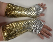 Scale Maille Armor Dragonhide Knitted Gauntlets Ombre Custom for You