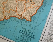 Old Ireland map from a Vintage Atlas, Denmark Iceland, wall art map