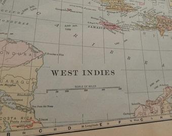 1902 Vintage map, West Indies antique map, Bahamas, Cuba, Bermuda, old maps, wall art map