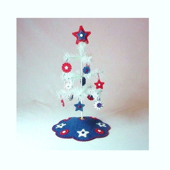 Tiny Patriotic Feather Tree with Ornaments, Tree Skirt and Tree Topper