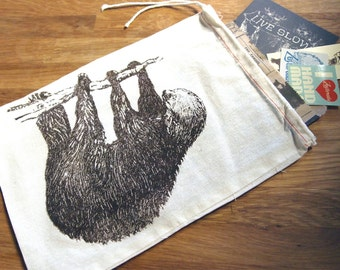 "GIFT BAG / 8x11"" SLOTH - Hand Printed Drawstring Reusable Cotton Bag"