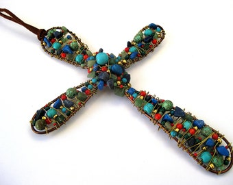 Southwestern wall cross, made to order, custom made beaded cross,  wire wrapped gemstone beads, turquoise, coral and more