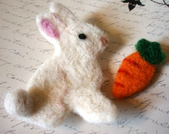 Brooch Set - Easter Set - White Rabbit and Carrot Pins - Custom Color Bunny and Carrot Pin Set - Felted Easter Bunny and Woolen Carrot