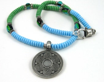 Sacred Spiral Necklace, blue and green glass beads with pewter spirals pendant, unisex jewelry