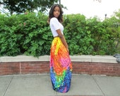 Rainbow Print Maxi Skirt, Maxi Skirt, Colorful Skirt, Long Maxi Skirt, Boho, Maxi Skirt Boho, Beach Maxi Skirt