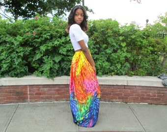 Rainbow Print Maxi Skirt, Maxi Skirt, Colorful Skirt, Long Maxi Skirt, Boho, Maxi Skirt Boho, Beach Maxi Skirt