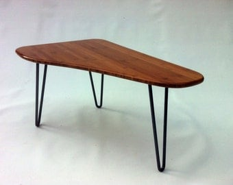 Triangle Mid Century Modern Side Table - Tapered Shaped - Atomic Era Design In Caramelized Bamboo with Hairpin Legs