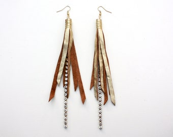 Leather Tassel Earrings - Metallic Gold Leather Fringe and Gold Wire Wrap with Gold Nickel Free Ear Wires