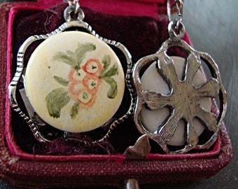 Very Feminine Pierced Earrings:  Painted Porcelain Floral design set onto silver tone base metal - gold wires