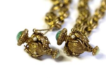 Art Glass & Brass Urn Set, 1930s Brass and Glass Perfume Bottle Necklace and Bracelet Set, Czech Glass Necklace Set, Chatelaine Perfume Set
