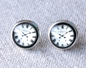 Clock Earrings stud earrings or Clips, clock jewelry  E577