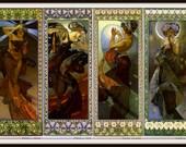 "Alfons Mucha  ""The Four Stars""  Morning Star - Evening Star - Polar Star - Moon Grouping 1902  Giclee Art Print"