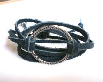 Boho Bracelet Leather Wrap Bracelet Blue Suede Bracelet  Silver Karma  Bracelet Bohemian Jewelry Gift For Her Under 20