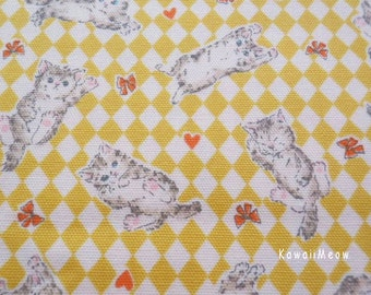 SALE - Ribbon Kittens Yellow - Fat Quarter - (ma130914)