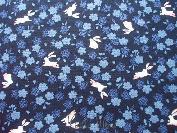 "Scrap - Kimono Sakura Flower Rabbits on Dark Blue - 110cm/43.3""W x 53cm/20.8""L (ki121016)"