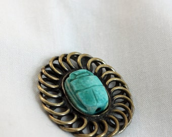 Vintage Destash - Silver and Turquoise Swirly Loop Amulet Scarab (1) Steampunk, Crafting, Large