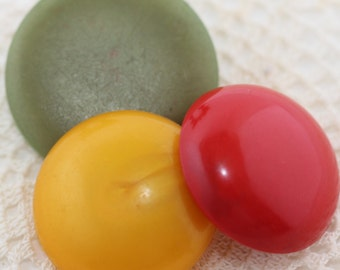 Vintage Jewelry Destash - Crafters Fun Colorful Dots - Bakelite,Celluloid,  Acrylics - (3) Olive, Cherry, Butterscotch