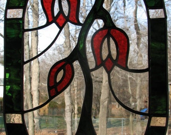 Oval Stained Glass Flower Panel with Green Border