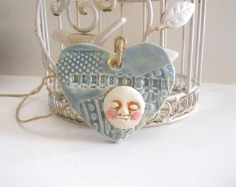 Ceramic Moon Ornament - Blessed Be - Wall Tile -  Handmade Pottery