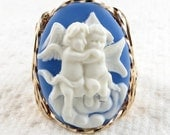 Hugging Angel Cherubs Cameo Ring 14K Rolled Gold Jewelry