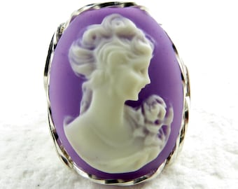 Lady Rose Purple Cameo Ring Sterling Silver Artisan Jewelry