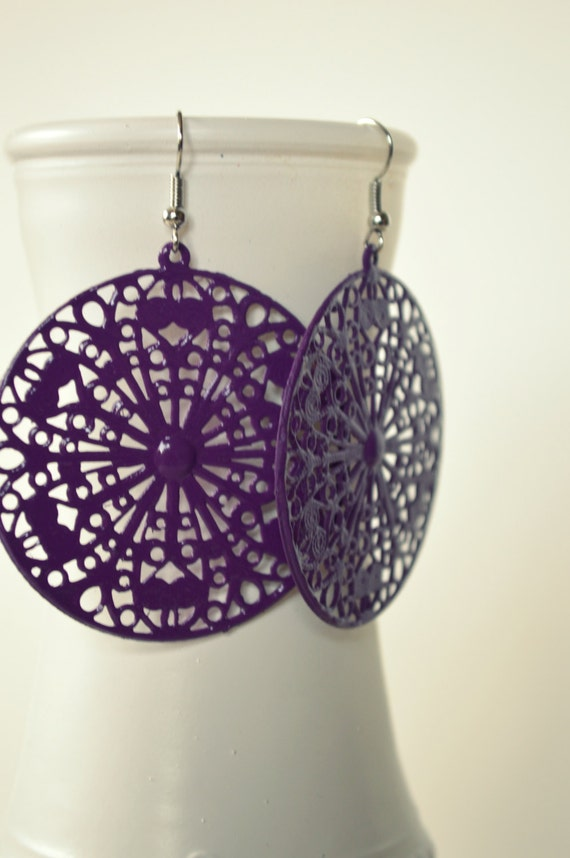 Large Purple Victorian Medallion Earrings, Statement Earrings, Bohemian Hippie Chic Earrings