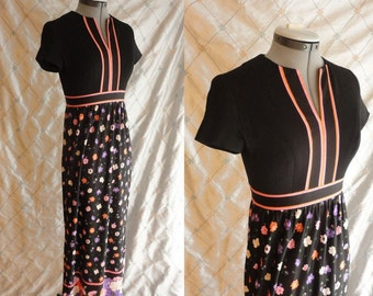 60s Dress // Vintage 1960s Black, Pink and Orange Floral Maxi Dress by Domino Fashions Inc Size S