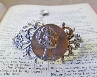 Victorian Woman Ornate Bracelet silver plate