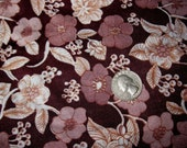 1960s Mod Brown Floral Dress Fabric - Over 2 Yards