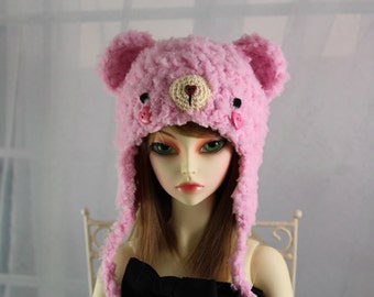 Pink Bear Hat for SD BJD, 1/3 Doll, Size 8-9