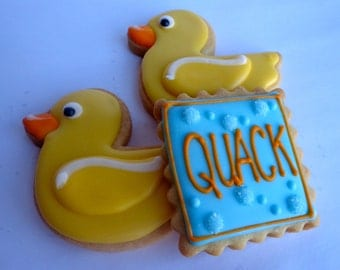 RUBBER DUCKY COOKIES, 12 Decorated Sugar Cookie Favors