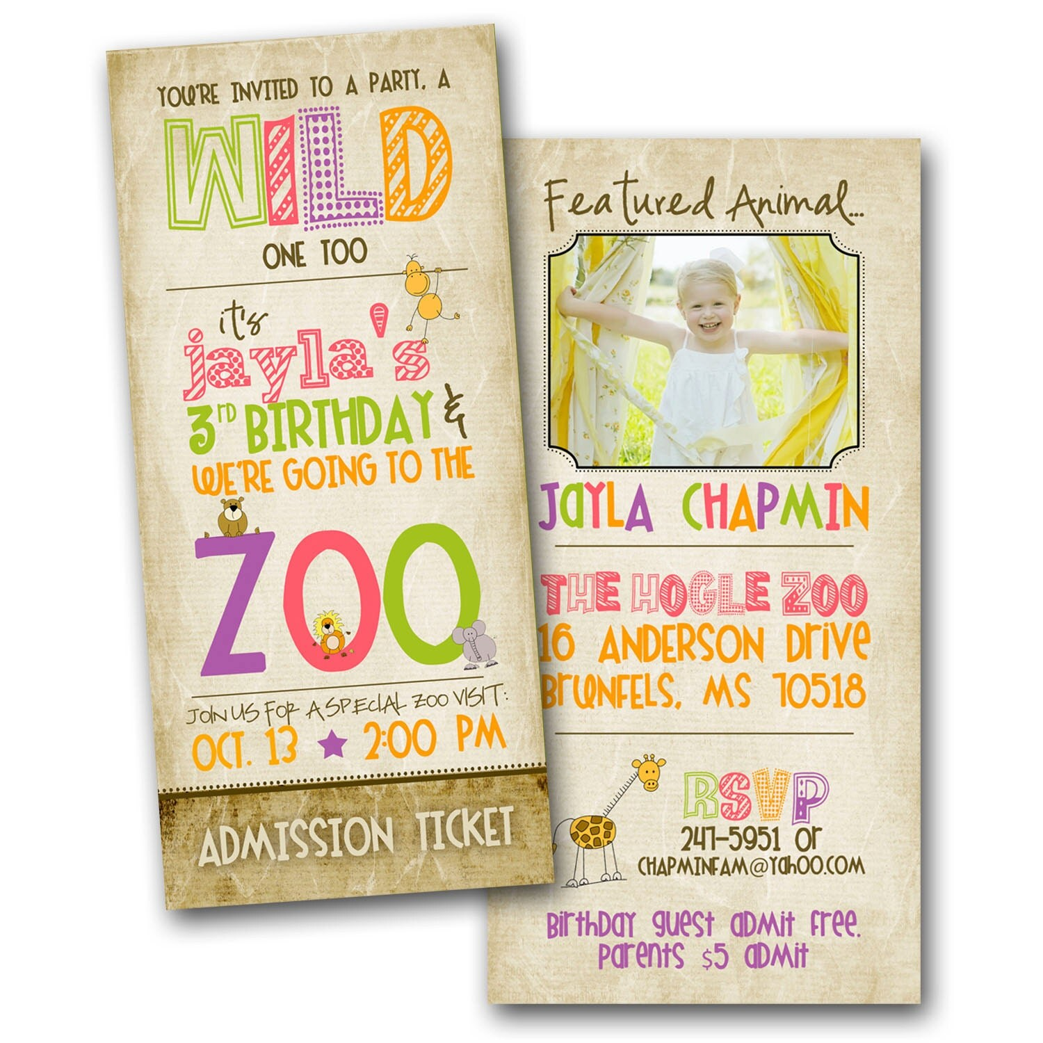 Zoo Birthday Invitation Featuring YOU GIRL