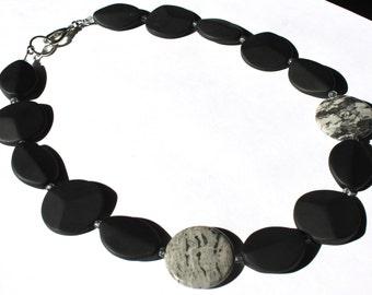 SUPER SALE Black Brazil Agate and Crazy Lace Jasper Semi precious stone handmade necklace