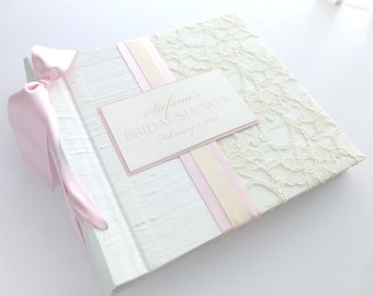 Baby Book- birth-12 monts-8x8 size-silk and lace-choose your own ribbon color