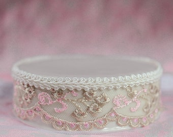 French Pink and Brown Lace DIY Cake Topper Base - 15719