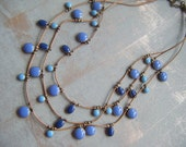 Blue enamel and Gold Brass Necklace