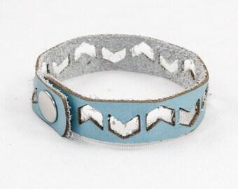Leather Bracelet - Chevron Pattern (Sky Blue) - Size Medium