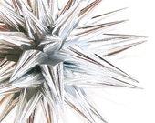 Silver Polish Star Modern Christmas Tree Ornament Paper Holiday Decoration Folk Art Ornament Kissa Design Handmade - Sterling Silver, 4 inch