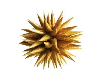 Handmade Polish Star Ornament Sparkly Glittered Paper Star Urchin Decoration by Kissa Design - Gold Stardust, 3 inch