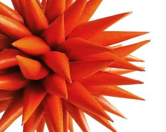Orange Ornament, Paper Star, Handmade Halloween Ornament, Harvest Decorations, Thanksgiving Decor, Autumn Color Home Decor - Pumpkin, 4 inch
