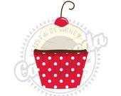Cherry Polk a dot Cupcake Clipart