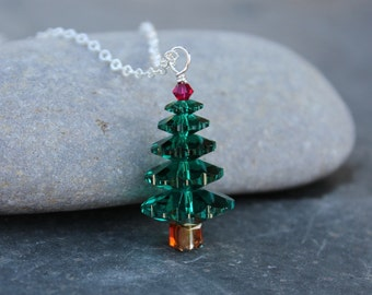 Emerald and ruby Swarovski crystal Christmas tree necklace - sterling silver chain - sparkly green and red - Free shipping USA