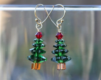 Forest green Christmas tree gold earrings - Dark Moss Green & Siam red Swarovski crystals - 14k gold filled hooks - free shipping USA