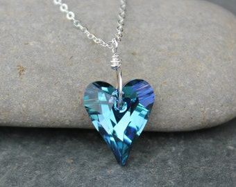 Wild Heart Necklace - fiery blue Swarovski crystal heart pendant on sterling silver chain - also available in gold - free shipping USA